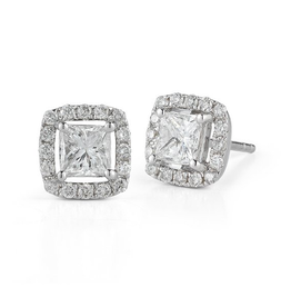 White Gold Halo Square (0.50ct) Diamond Stud Earrings