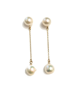 Yellow Gold Akoya Pearl Dangle Earrings