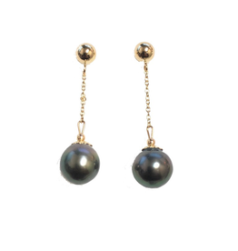 Yellow Gold Tahitian Pearl Dangle Earrings