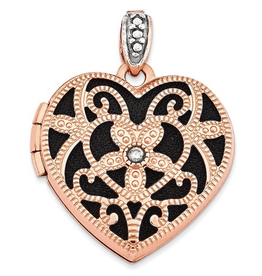 Rose Gold Diamond and Black Interior Vintage Heart Locket
