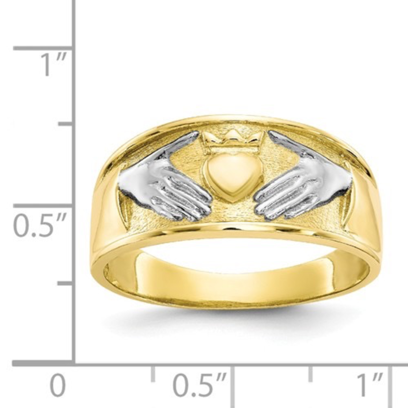 Gold and Rhodium Men's Claddagh Ring