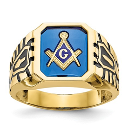 Yellow Gold Blue Arcylic Men's Masonic Ring