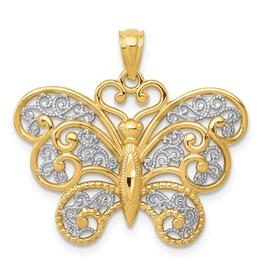 14k Two Tone Filigree Butterfly Pendant