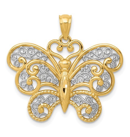 14K Two Tone Yellow and White Gold Filigree Butterfly Pendant