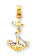 Yellow and White Gold Anchor with Rope Pendant