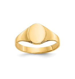 14K High Polished Baby Oval Signet Ring