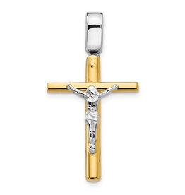 Yellow and White Gold Crucifix Pendant