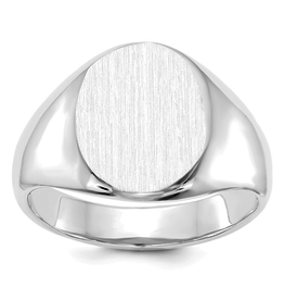 White Gold Brushed Top Oval Signet Ring