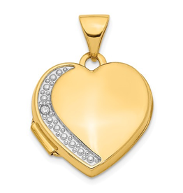 Yellow and White Gold Diamond Heart Locket