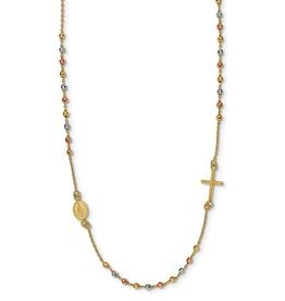 "14K Tri Gold Sideway Cross Beaded Rosary 18"""