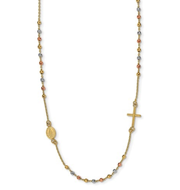 """14K Yellow, White and Rose Gold Sideway Cross Beaded Rosary 18"""""""