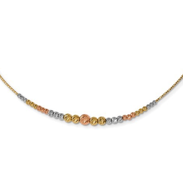 Yellow, White and Rose Gold Diamond Cut Wire Necklace