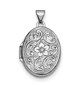 Silver Rhodium Plated Floral Oval Locket