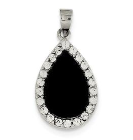 Black Onyx & CZ Sterling Silver Pendant