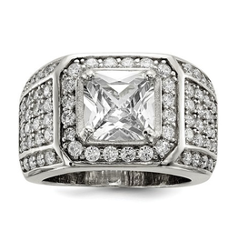 Sterling Silver CZ Mens Ring