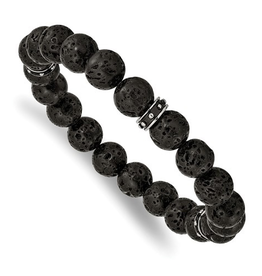 Lave Stone Beaded Bracelet with Stainless Steel Black Enamel Spacers