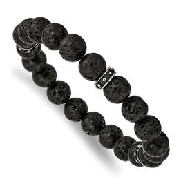 Stainless Steel Polished Black Enamel Lave Stone Beads Stretch Bracelet