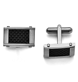Steel Brushed and Carbon Fiber Cuff Links
