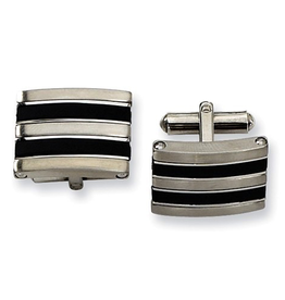 Steel Brushed and Black Rubber Cuff Links