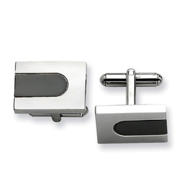 Steel Polished and Black Plated Cuff Links