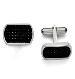 Steel Polished Black Carbon Fiber Inlay Cuff Links