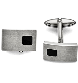 Steel Brushed and Black Carbon Fiber Cuff Links