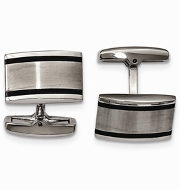 Steel Brushed and Black Enamel Cuff Links