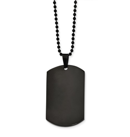 Stainless Steel Polished Black IP Dog Tag Necklace