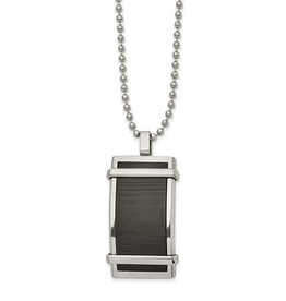 Stainless Steel Curved Solid Black Carbon Fiber Inlay Dog Tag Necklace