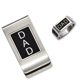 Stainless Steel DAD Ring and Money Clip Set