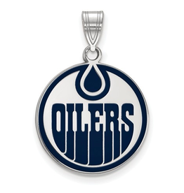 NHL Licensed Edmonton Oilers Enamel (18mm) Sterling Silver