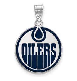 NHL Licensed NHL Licensed (Large) Edmonton Oilers Sterling Silver Enamel Pendant