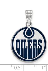 NHL Licensed Edmonton Oilers Enamel (18mm) Sterling Silver