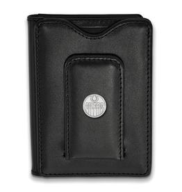 NHL Licensed Sterling Silver Oilers Licensed Black Leather Wallet