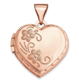 Rose Gold Floral Domed Heart Locket