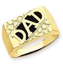 14K Yellow Gold Black Onyx DAD Ring
