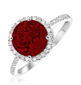 Garnet and Diamond 14K White Gold Ring