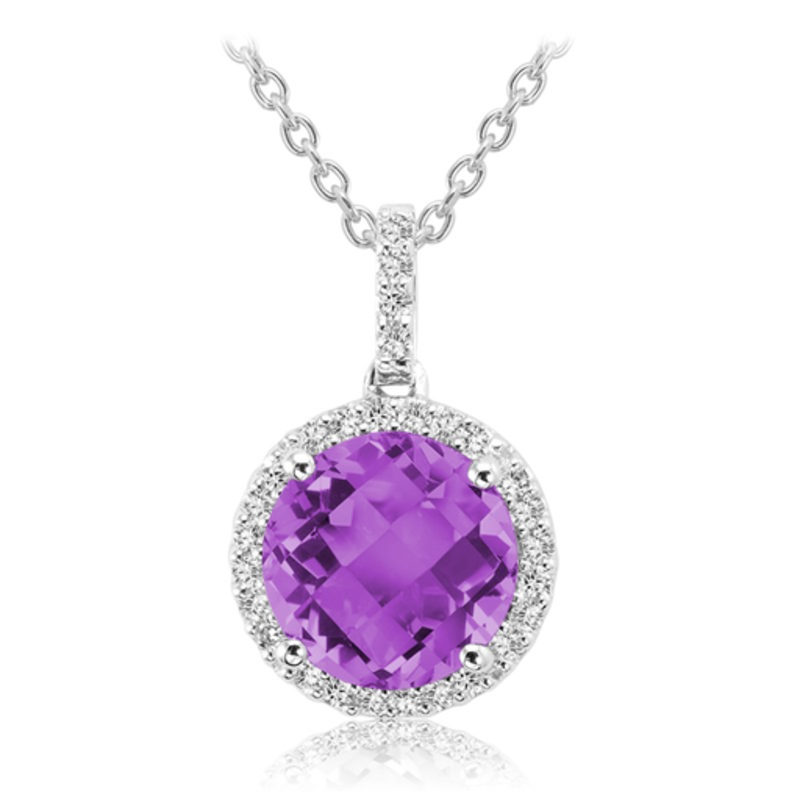 Amethyst and Diamond 14K White Gold Pendant