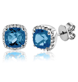 White Gold Blue Topaz and Diamond Stud Earrings