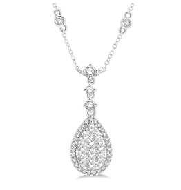 14K Pear Shaped (1.00ct) Lovebright Diamond Necklace