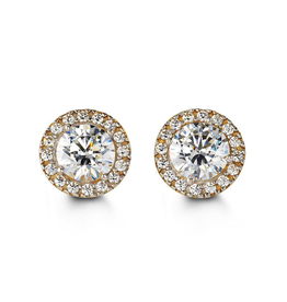 10K Yellow Gold (8mm) Halo Cubic Zirconia Stud Earrings
