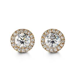 Halo CZ Yellow Gold Earrings