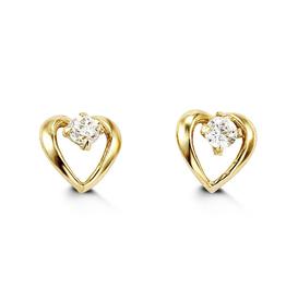 Yellow Gold Heart Cubic Zirconia Baby Earrings
