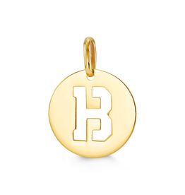 Yellow Gold Initial B Charm Pendant