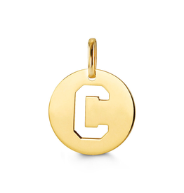 Yellow Gold Initial C Charm Pendant