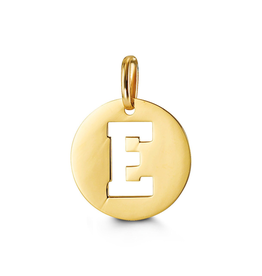 Yellow Gold Initial E Charm Pendant