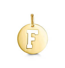 Yellow Gold Initial F Charm Pendant