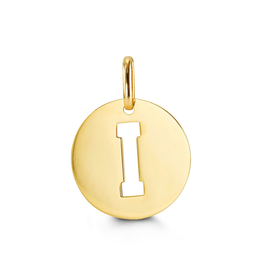 Yellow Gold Initial I Charm Pendant
