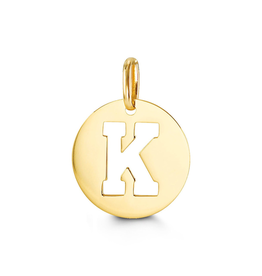 Yellow Gold Initial K Charm Pendant