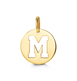 Yellow Gold Initial M Charm Pendant